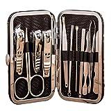 Juego de cortaúñas pequeño y grande con estuche negro con diseño dorado para hombres y mujeres, herramientas de aseo de acero al carbono con estilo de sonrisa para viajes y hogar