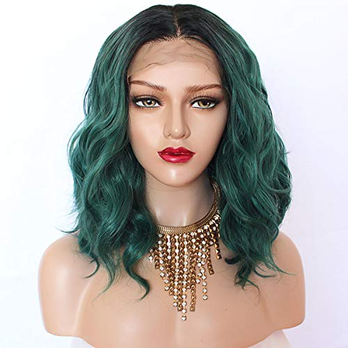 Maycaur Short Wavy Wig Black Green Color Synthetic Lace Front Wigs With Baby Hair 180 Density Loose Wave Lace Front Wigs For Women Black Green Hair