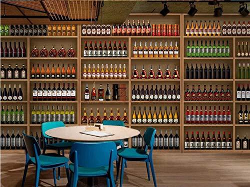 Fototapete Tapeten Wandbilder Stereoweinflaschen-Hintergrundwand 3D Tapete Wandtapeten Für Schlafzimmer Wohnzimmer Büro (W) 300X(H) 210Cm