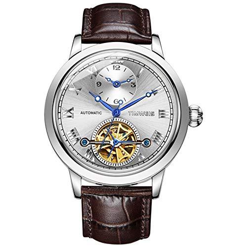 Armbanduhren,Tourbillon Automatische Doppelzifferblatt Mechanische Uhr Herren Business Hohluhr, Weiße Schale Silber Zifferblatt Brauner Gürtel