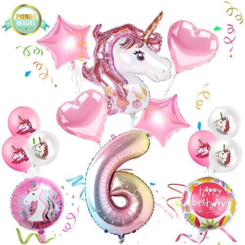 Sunshine smile Einhorn Geburtstagsdeko, Einhorn Party Mädchen Geburtstagsdeko Luftballons,Einhorn Ballon,Folienballon,Party Kindergeburtstag Happy Birthday Dekoration Luftballon 6. Geburtstag