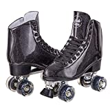 C SEVEN Skate Gear Sparkly Retro Quad Roller Skates (Glitter Black, Men's 7 / Women's 8)