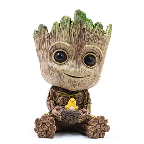 WILLBAN Baby Groot Blumentopf Action-Figuren-Spielzeug Stifttopf PVC Held Model Guardians der Galaxie Crafts Figur Wohnkultur(klein)