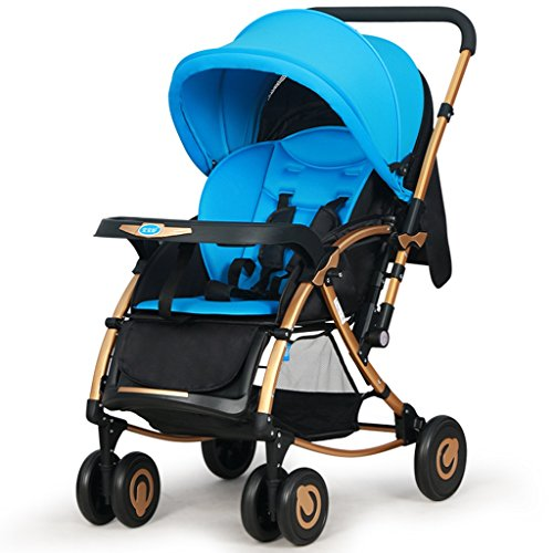 NAUY @ Cochecito de bebé Puede Sentarse Fold oscilante del Caballo del Empuje Ultra-Ligero bi-direccional de Cuatro Ruedas del Carro de bebé BB Sillas de Paseo