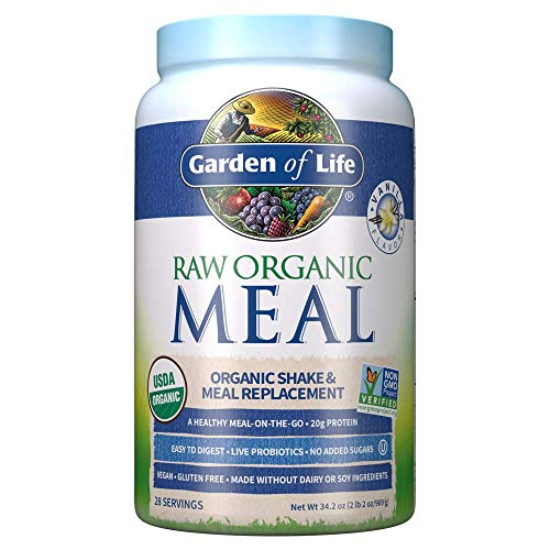 Garden of Life Raw Organic Meal Replacement Powder  Vanilla 28 Servings 20g Plant Based Protein Powder Superfoods Greens Vitamins Minerals Probiotics amp Enzymes AllinOne Meal Replacement Shake