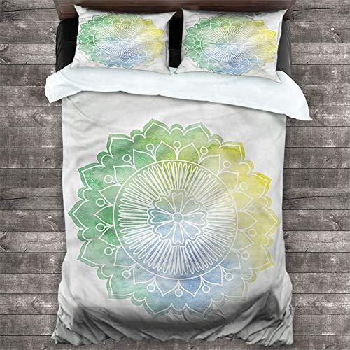 Cover Set Lotus,Doodle Watercolor Flora 3 Piece Bedding Sets (1 Duvet Cover + 2 Pillow Shams) Brushed Microfiber Bedding, Cal King 68'x90'