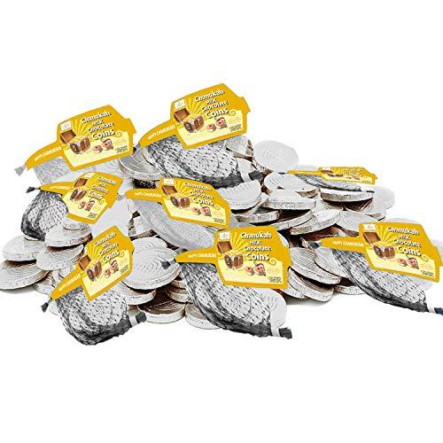 Hanukkah Chocolate Gelt - Dark Chocolate Coins, Kosher Certified Kosher Chanukah Gelt (8 Mesh Bags)
