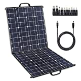 TWELSEAVAN 100W Solar Panel Foldable Portable Solar Charger for Jackery Explorer 160/240/500 Power Station/Suaoki/Goal Zero Yeti/Rockpals/Kyng Power Solar Generator, 12V Battery, with Dual USB Ports