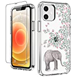 LUHOURI for iPhone 12 Mini Case with Screen Protector,Elephant Floral Flower Designs on Clear Bumper Cover for Women Girls,Shockproof Slim Fit Protective Phone Case for iPhone 12 Mini 5.4'