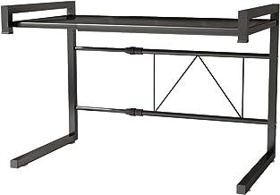 DoubleBlack Soporte Horno Organizador Microondas Estante para Microondas Encimera Extensible (43-65) x 36 x 42 cm Metal Negro con 6 Ganchos