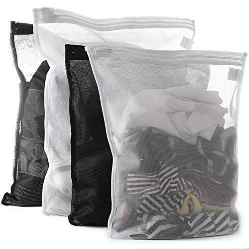 TENRAI 4er-Pack (2 große und 2 mittel) Feinwäsche Wäschesäcke, BH-Wäschebeutel, Reißverschluss, schützt die beste Kleidung in der Waschmaschine (2 schwarz und 2 weiß, 4 Stück)
