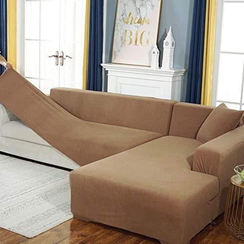 GJHGJ Fundas de sofá de Terciopelo para Sala de Estar Funda de sofá seccional sólida Funda elástica Decoración para el hogar Fundas Sofá Slipover Calidad superior-style19,2-Seat 145-185, Polonia