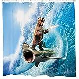 Brogtorl Lustiger Duschvorhang Shark Duschvorhang Bär Duschvorhang Nautische Badezimmer Ideen Surreal Badezimmer Dekor Strand Thema Kunst 180X180 cm