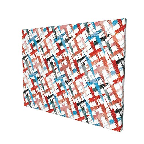 """Psychedelic Decor Grunge Graffiti Patterns Street Art Spray Paint Chaos of Colors Artwork Red Blue Painting Premium Panoramic Canvas Wall Art Painting 12""""X 16"""""""
