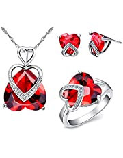 Uloveido Women's Necklace and Earrings Ring Set with Love Heart Stone, Promise Ring Bridal Jewelry Set T086