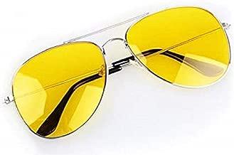 Kriva Aviator Night Vision Driving Glasses Fashion Sunglasses Men Women, 1Pc(Yellow Color)