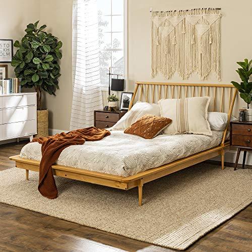Walker Edison Mid Century Modern Solid Wood Spindle Platform Headboard Footboard Bed Frame Bedroom, Queen, Light Oak
