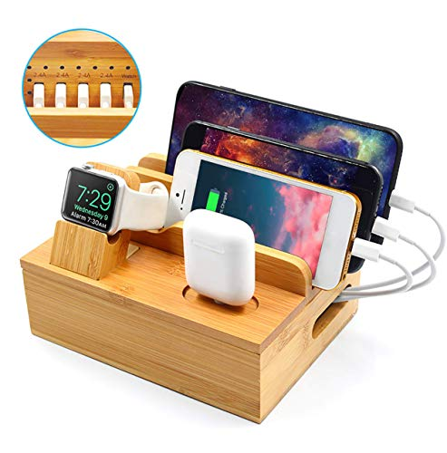 WXJHA 6-In-1 Bamboo Charging Station,Mr Multiple Devices USB Charging Station 5-Port for Phone Tablet Stand Docking Station Docking Station Organizer