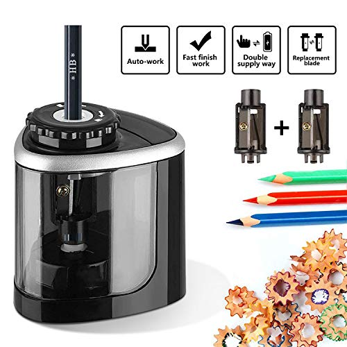 Electric Pencil Sharpener,Portable Battery Operated Pencil Sharpener with battery for Colored and No. 2, High-Speed Automatic pencil sharpener for Home Office School Classroom Adults and Kids(6-8mm)