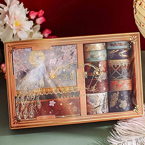 Cinta Adhesiva Decorativa para Scrapbooking Cinta Adhesiva Washi Washi Tapes Set Colección, Cinta para álbumes de Recortes para Manualidades, Manualidades y Envoltura de Regalos