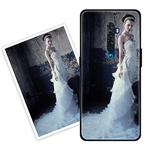 Sunrive Personalisierte Hülle kompatibel mit Oppo Reno2 Z Handyhülle Benutzerdefiniert Gehärtetes Glas Weicher Etui mit Eigenem Foto Bild Text Persönliche + Bildschirmschutzfolie