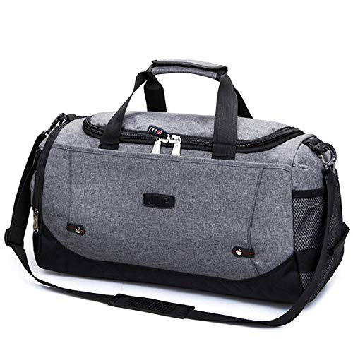 Dfghbn Travel Bags Multifunctional waterproof men's travel bag large capacity travel luggage bag overnight weekend bag Travel Bags For Men And Women (Color : Gray, Size : 51x23x27cm)