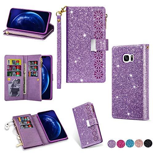 Miagon Reißverschluss Brieftasche Glitzer Hülle für Samsung Galaxy S6 Edge,Flip Handytasche mit 9 Kartenfächer Handschlaufe PU Leder Magnet Bling Multifunktions,Lila