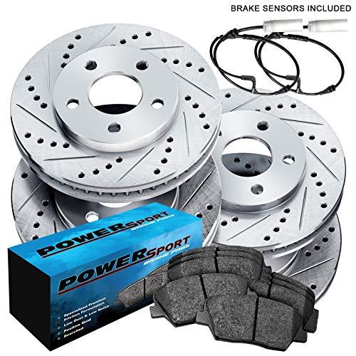 For 2007-2010 Mini Cooper PowerSport Front Rear Silver Zinc Cross Drilled Slotted Brake Rotors Kit + Ceramic Brake Pads