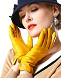 NappaNovum Women's Classic Italian Nappa Leather Gloves Lambskin Winter Comfort Lining Fashion Gloves (Touchscreen or Non-Touchscreen) (M, Bright Yellow)