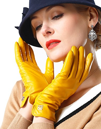 NappaNovum Damen Italienische Lederhandschuhe Lammfell Winter Komfort Handschuhe (Touchscreen oder ohne Touchscreen) - Gelb - Medium