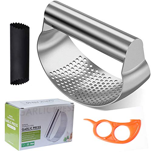 DIQC Garlic Press Rocker Crusher Stainless Steel Easy Clean Hand-held Good Grips Roller Ginger Garlic Presses Mincer Masher with Silicone Garlic Peeler Orange Peeler and Cleaning Brush
