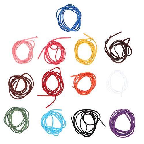 EXCEART 20 Piezas de Cuerda de Cuero de Vaca Tira Plana de Cuero Cuerda de Trenzado para DIY Pulsera Collar de Cuentas Fabricación de Joyas 1M de Color Mixto