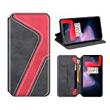 MOBESV Smiley OnePlus 6 Hülle Leder, OnePlus 6 Tasche Lederhülle/Wallet Hülle/Ledertasche Handyhülle/Schutzhülle mit Kartenfach für OnePlus 6, Schwarz/Rot