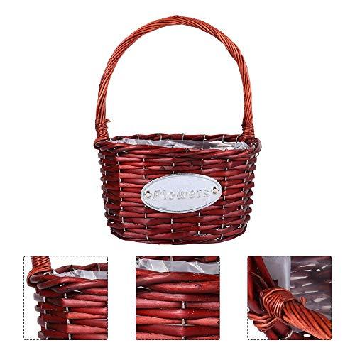 xiucai 1 cesta de flores portátil para novia, diseño de flores, para bodas, color marrón, tamaño: 28 x 22 x 15 cm