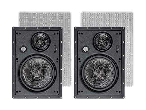 Monoprice 3-Way Carbon Fiber in Wall Speakers - 8 Inch (Pair) with Paintable Magnetic Grille for Home Theater - Alpha Series
