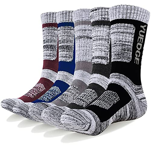 YUEDGE Wandersocken, 3/5 Paar atmungsaktive Laufsocken für Herren, Sport Socken mit Sohle und...