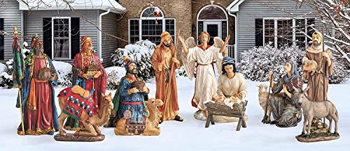 THREE KINGS GIFTS THE ORIGINAL GIFTS OF CHRISTMAS Intricate Outdoor Vibrant 52 inch Metal Holiday Yard Nativity 12 Piece Set