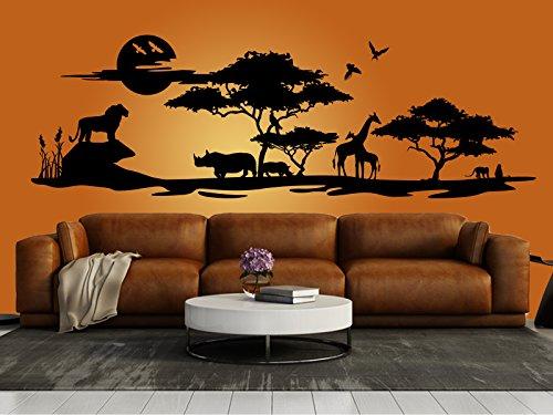 Schönes Wandtattoo Afrika Savanne 2' in der Farbe Schwarz und der Größe 150 x 48cm für Wohnzimmer Esszimmer...
