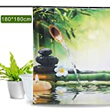 Aitsite 2020 Duschvorhang, Bambus, Flamingo, Avocado, wasserdicht, schimmelresistent, waschbarer Badvorhang, Polyester, mit 12 Haken, 180 x 180 cm Green Bamboo