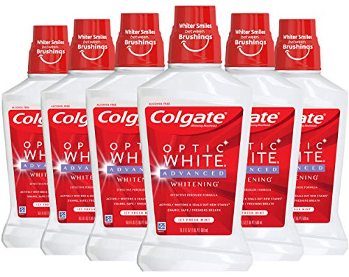Colgate Optic White Whitening Mouthwash, 2% Hydrogen Peroxide, Fresh Mint - 473mL, 16 Fluid Ounce (6 Pack)