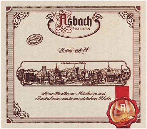 RCP Asbach Pralinenmischung, Holz-Geschenkkistchen, Mit und ohne Kruste, Flüssige Füllung, Alkoholhaltig, Tolles Geschenk, 400 g