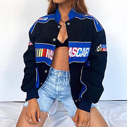 Cloudy Primavera otoño Moda Deportes Estilo de béisbol Azul Letra Impreso Estampado Chaqueta Suelta Abrigo Mujer Harajuku Plus Size Streetwear