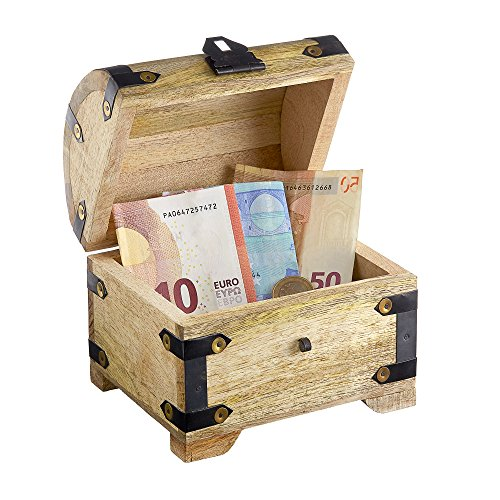 Casa Vivente Schatztruhe aus hellem Holz mit Gravur zur Hochzeit, Motiv Ringe, Personalisiert mit Namen und Datum, Verpackung für Geldgeschenke - 6