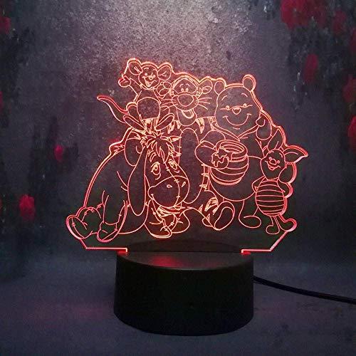 Mignon de bande dessinée Winnie l'Ourson Bourriquet Tigre 3D Veilleuse LED 7 Couleur À Distance Tactile USB garçon De Noël Cadeau Chambre Lampe de Table