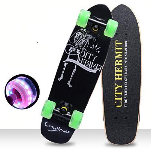 24inch Skateboard 7 Layer-Concave Maple Deck mit LED-PU-Räder Sport und Outdoor-Brett for Jungen Mädchen 4-13years Alt Anfänger Jugendliche Teens Mädchen Jungen (Color : C)