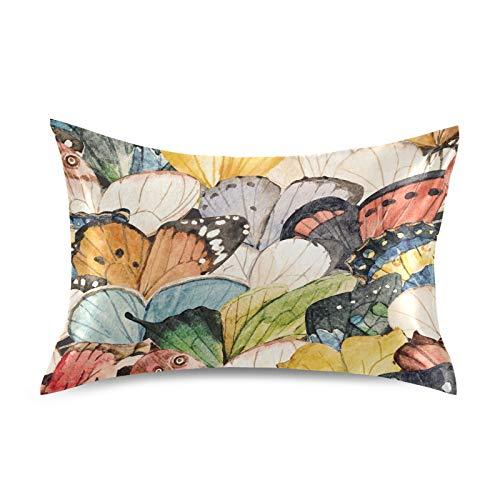 iRoad - Funda de almohada de microfibra 100% con diseño de alas de mariposa, funda de almohada de satén suave para cabello y piel, tamaño estándar 50,8 x 66 cm