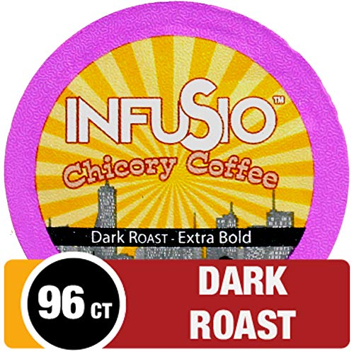 InfuSio Coffee & Chicory Single Serve Pods, Compatible with Keurig 2.0 K Cup Brewers, 96 Count, Rich Bold Gourmet Flavor - New Orleans Style Coffee with Chicory