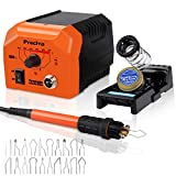 Woodburner Pyrography Kit, Preciva Woodburner Pen Tool Set with Soldering Iron Station, 40W 250-750 ? ??Adjustable Temperature, 20 Tips and Woodcut Holder (Orange)