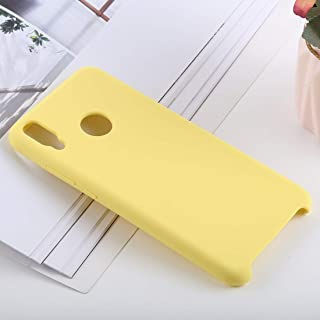 Phone Shell Solid Color Liquid Silicone Shockproof Case for Huawei Honor 8X(Black) (Color : Yellow)