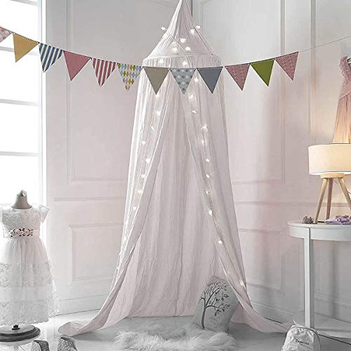 Dix-Rainbow Princess Bed Canopy for Kids Baby Bed, Round Dome Kids Indoor Outdoor Castle Play Tent Hanging House Decoration Reading Nook Cotton Canvas White